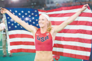 Greenville pole vaulter Sandi Morris displays the American flag after finishing in second place at the 2016 IAFF World Indoor Championships in Portland, Ore. It was her second time competing in a world championship. [CREDIT: Wilder]