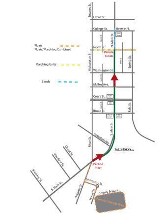 2016 Greenville Poinsettia Christmas Parade Route